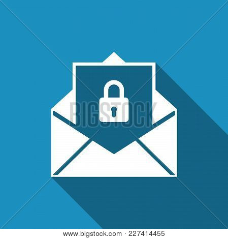 Secure Mail Icon Isolated With Long Shadow. Mailing Envelope Locked With Padlock. Flat Design. Vecto