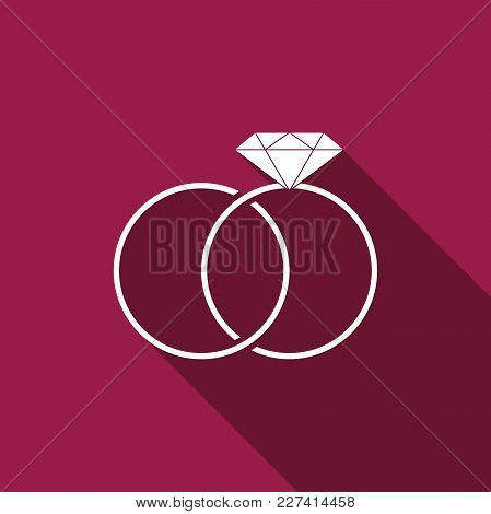 Wedding Rings Icon Isolated With Long Shadow. Bride And Groom Jewelery Sign. Marriage Icon. Diamond