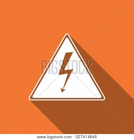 High Voltage Sign Icon Isolated With Long Shadow. Danger Symbol. Arrow In Triangle. Warning Icon. Fl