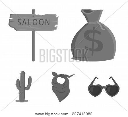 Bag Of Money, Saloon, Cowboy Kerchief, Cactus. Wild West Set Collection Icons In Monochrome Style Ve