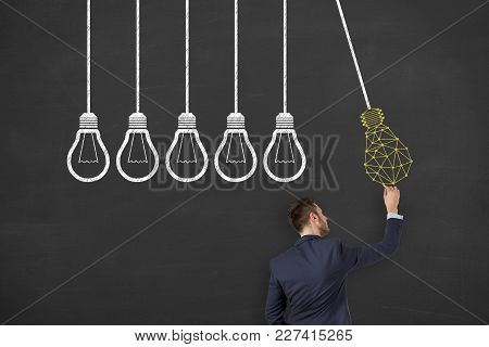 Innovation Concept With Light Bulbs On A Chalkboard Background