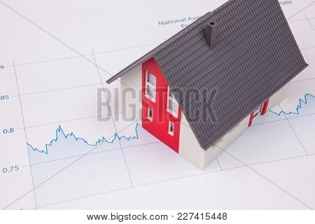 House On A Financial Graph On Desk