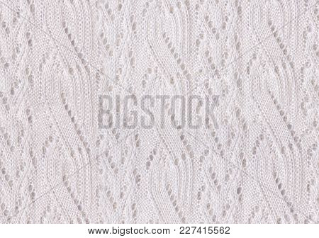 Tileable White Knitted Fabric Cloth Pattern, Background And Texture.