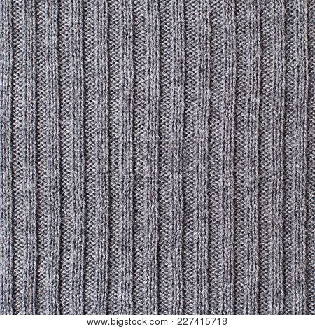 Tileable Silver Knitted Fabric Cloth Pattern, Background And Texture.