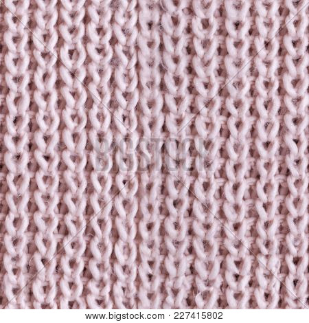 Tileable Pink Knitted Fabric Cloth Pattern, Background And Texture.