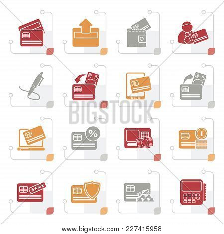 Stylized Credit Card, Pos Terminal And Atm Icons - Vector Icon Set