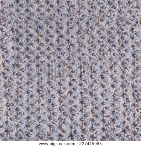 Tileable Silver And Blue Knitted Fabric Cloth Pattern, Background And Texture.