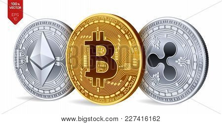 Bitcoin. Ripple. Ethereum. 3d Isometric Physical Coins. Digital Currency. Cryptocurrency. Silver And