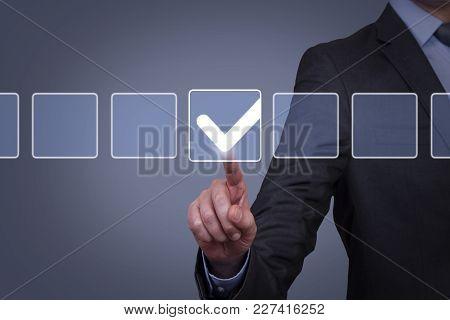 Human Hand Touching Check List On Visual Screen