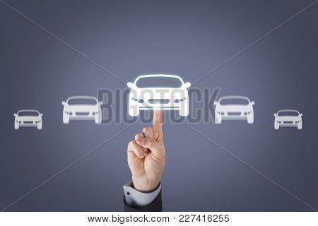 Human Hand Touching Car Choosing On Visual Screen