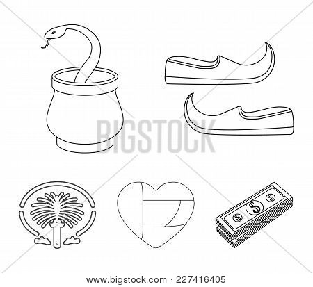 Eastern Shoes, Dagger, The Heart Of The Emirates, Palm Jumeirah.arab Emirates Set Collection Icons I