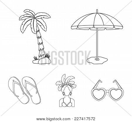 Brazil, Country, Umbrella, Beach . Brazil Country Set Collection Icons In Outline Style Vector Symbo