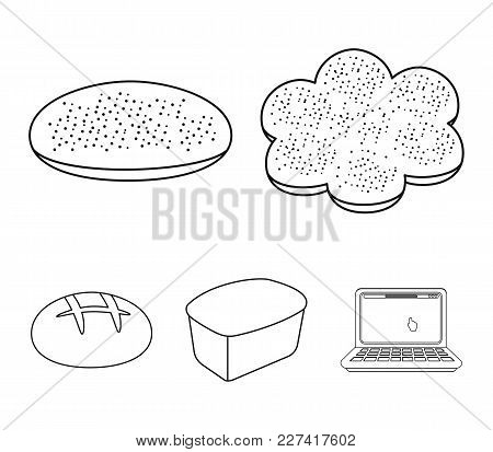 Baking, Pizza, A Round Loaf, Rectangular Bread.bread Set Collection Icons In Outline Style Vector Sy
