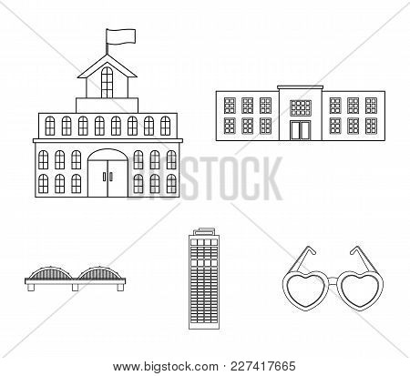 Skyscraper, Police, Bridge, Government House.building Set Collection Icons In Outline Style Vector S