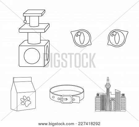 Cat's-eye, Cat Lodge, Collar, Package With Food.cat Set Collection Icons In Outline Style Vector Sym