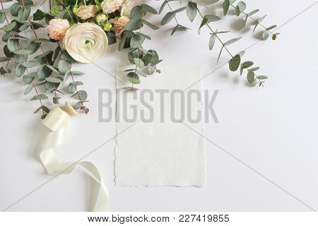 Wedding, Birthday Mock-up Scene With Floral Bouquet Of Persian Buttercup, Ranunculus Flower, Pink Ro