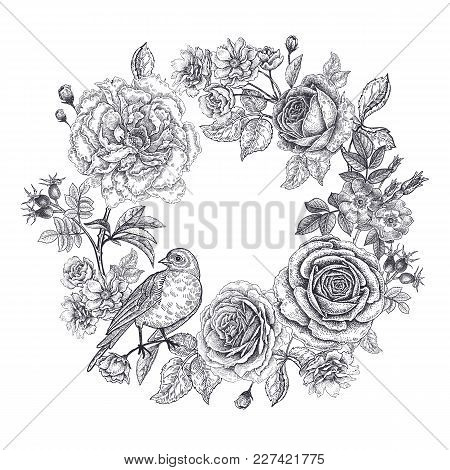 Vintage Frame With Flowers And A Bird. Print Black On A White Background. Roses And Peonies In Orien