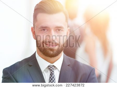 businessman on background of office.