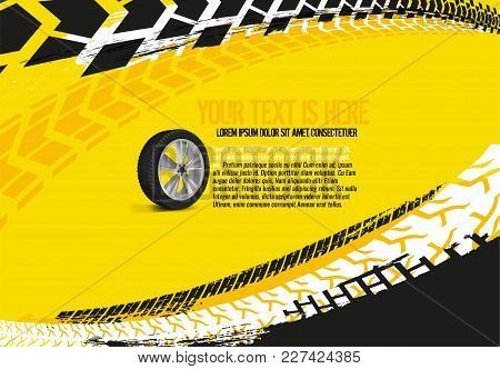 Vector Automotive Banner Template. Grunge Tire Tracks Backgrounds For Landscape Poster, Digital Bann