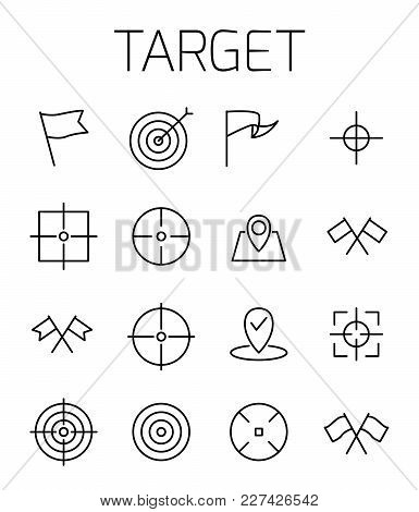 Target Related Vector Icon Set. Well-crafted Sign In Thin Line Style With Editable Stroke. Vector Sy