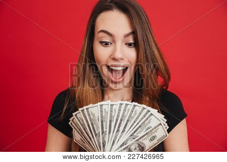 Portrait of a satisfied girl holding bunch of money banknotes isolated over pink background