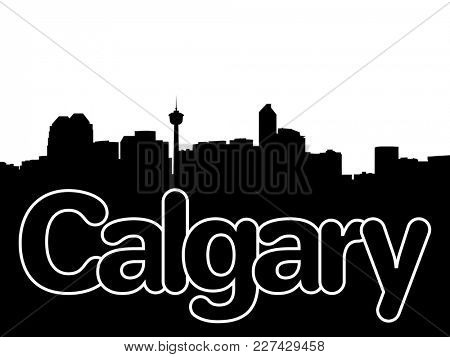 Calgary skyline with overlapping text illustration