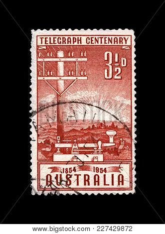 Australia - Circa 1954: Canceled Stamp Printed In Australia Shows Telegraph Pole And Key, 100th Anni