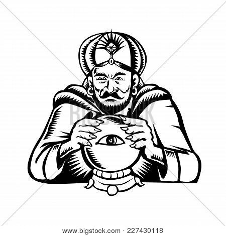 Retro Woodcut Style Illustration Of A Fortune Teller Or Crystal Gazer With Hands On Crystal Ball Wit