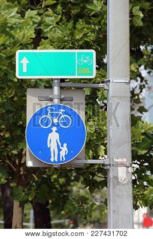 Safe Walking And Cycling Path Traffic Sign