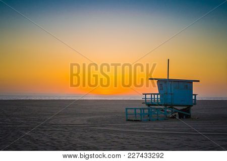 Lifeguard Stand On The Beach In Southern California