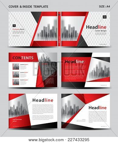 Red Cover Design And Inside Template For Magazine, Ads, Presentation, Annual Report, Book, Leaflet,