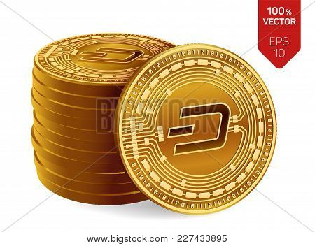 Dash. 3d Isometric Physical Coins. Digital Currency. Cryptocurrency. Stack Of Golden Coins With Dash