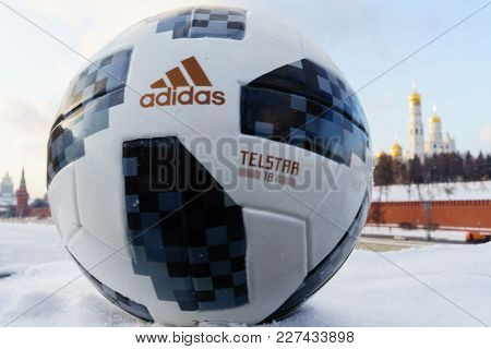January 22, 2018. Moscow, Russia. The official ball of the FIFA World Cup 2018 Adidas Telstar 18 aga