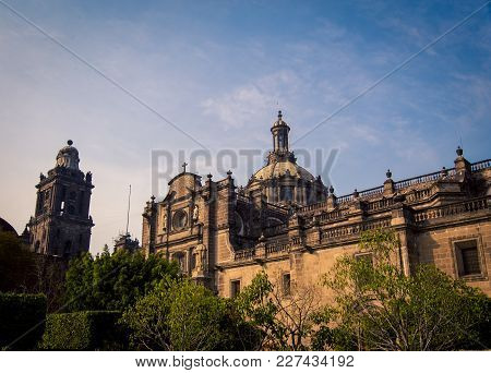 The Facade Of The Main Cathedral In Mexico City