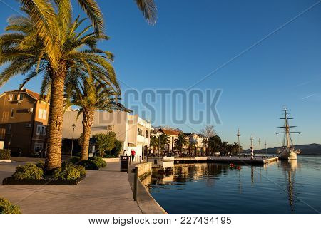Sailboat At The Pier In Porto Montenegro