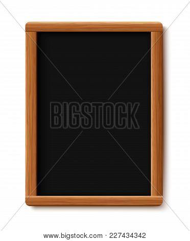 Menu Chalkboard On White Background. Board Wood Frame. Vector Illustration