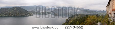 Panoramic View Of Bled Lake From Bled Castle In Slovenia