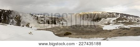 Mammoth Hot Springs Panorama, Yellowstone National Park, Wyoming