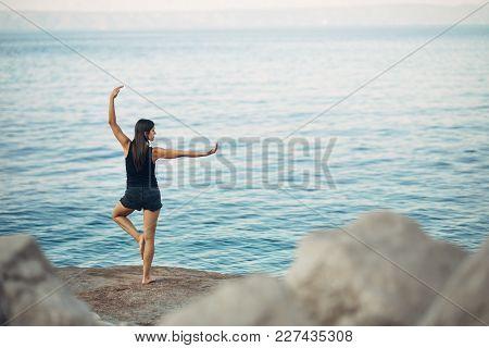 Carefree Woman Meditating In Nature.finding Inner Peace.yoga Practice.spiritual Healing Lifestyle.en