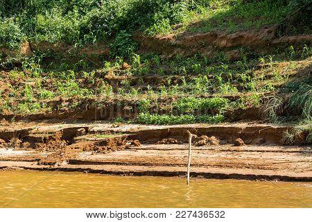 Bank Of The River Nam Khan River Nam Khan In Luang Prabang, Laos. Copy Space For Text.