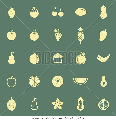 Fruit Color Icons On Green Background, Stock Vector
