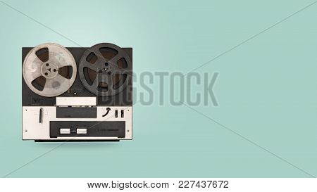 Tape Cassette Recorder And Player With On Color Background. Retro Technology. Flat Lay, Top View Her