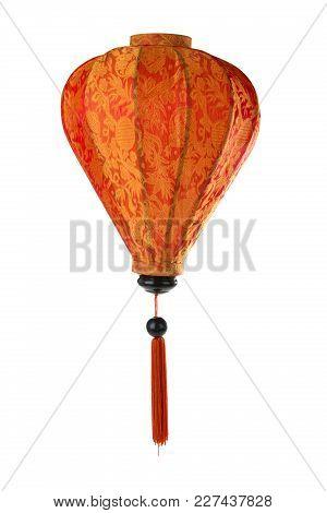Orange Asian Lantern Isolated On White Background.