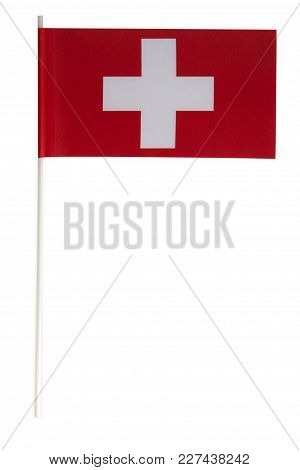 Paper Flag From Switzerland Isolated On White Background