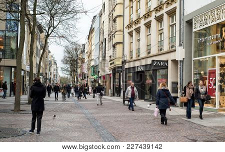 LUXEMBOURG CITY, LUXEMBOURG - JANUARY 19, 2018: The Grand Rue street, one of the main and busiest streets in the city center of Luxembourg City, is an open-air shopping mall