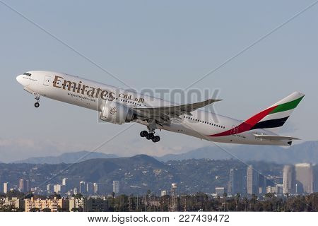 Los Angeles, California, Usa - March 10, 2010: Emirates Airways Boeing 777 Aircraft Taking Off From