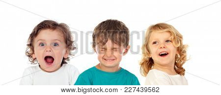 Three surprising children isolated on a white background
