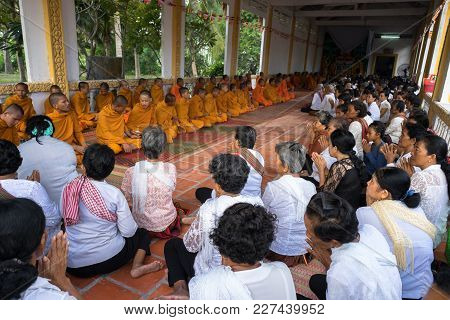 An Giang, Vietnam - Dec 6, 2016: Champa Buddhists And Yong Monks In Temple At Ordination Ceremony Th