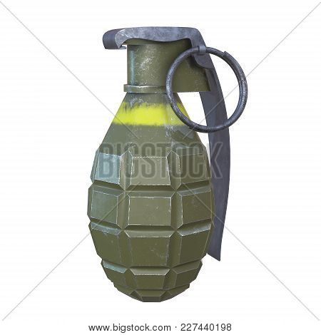 Hand Bomb Frag Grenade Green Metal With Scratches And Round Pin Over. 3d Render Isolated On White.