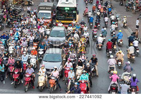 Hanoi, Vietnam - Oct 11, 2016: Aerial View Of Traffic On Dai La Street At Rush Hour